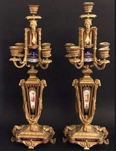 PAIR OF 19TH C. DORE BRONZE AND SEVRES CANDELABRA Antique Auctions, Candelabra, View Image, Candle Sconces, Wall Lights, Bronze, Pairs, Antiques, Antiquities