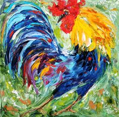 Original oil painting Rooster Dance palette knife by Karensfineart