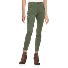 Jag Angie Skinny Cargo Pants ($36) ❤ liked on Polyvore featuring pants, deep forest, cargo pants, zip cargo pants, skinny fit cargo pants, skinny trousers and green trousers