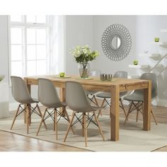 Buy the Verona Solid Oak Dining Table with Charles Eames Style DSW Eiffel Chairs at Oak Furniture Superstore Oak Dining Room, Eames Dining, Oak Extending Dining Table, Oak Dining Furniture, Side Chairs Dining, Eames Dining Chair, Dining Table Chairs, Solid Oak Dining Table, Dining Chairs