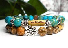 Just Breathe Gemstone Bracelet with a cute little Butterfly – BlueStoneRiver