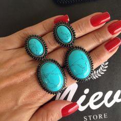 Começando o dia com esse Brinco Maravilhoso!!! ✔️Brinco Turquesa Redondo Negro! ➡️www.nieva.com.br #brinco #party #madrinha #inlove #style #shoponline #semijoias #turquesa