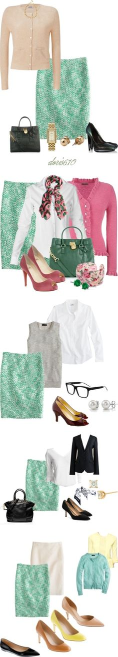 """""""No. 2 Clover Tweed Pencil Skirt Ideas"""" by leilacille on Polyvore"""