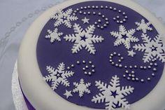 Purple & Snowflakes Christmas Cake. Love this cake. Maybe my Christmas cake this year.