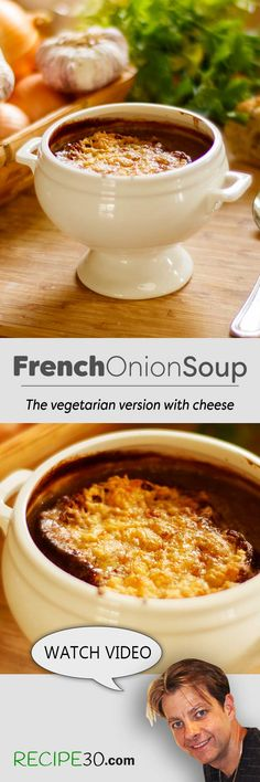 Vegetarian French Onion Soup Vegetarian French Onion Soup with amazing flavour! There's no more satisfying dish than a French Onion Soup in the colder months. This one is the vegetarian version, and it's so tasty you'll never know the difference. It's simple, it's packed with flavour and made with few ingredients.