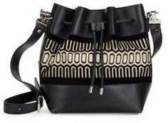 Proenza Schouler PS1 Tiny Geometric Print & Leather Bucket Bag