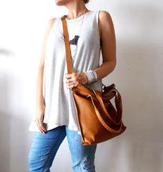 Tan brown leather tote Handbag Cross-body bag Every by Smadars