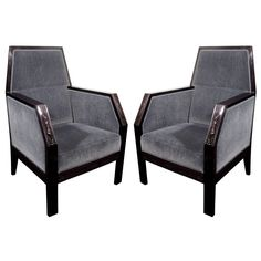 Pair of Exquisite Art Deco Throne Club Chairs