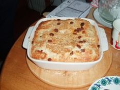Good way to use up dry bread.  Bread and Butter Pudding  Wow I can't wait to cut into this