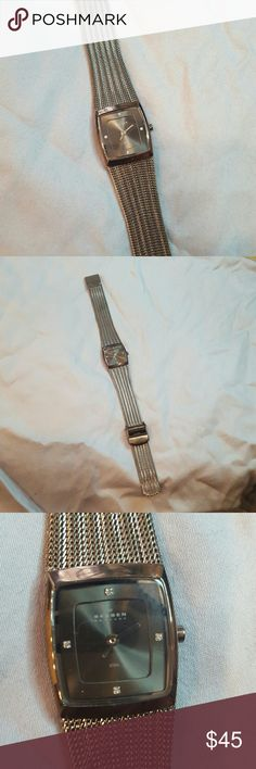 Skagen steel watch Authentic Skagen - Denmark steel watch.  Very classy can be easily dressed up or down.  Adjustable strap clasp.  Measures approximately 8inches, probably can fit a7in around wrist. Skagen Accessories Watches