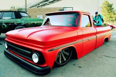 Great style ...... Slammed Red and black matte truck..... Clean sweet ride.