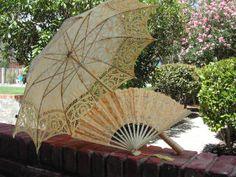 Vintage Parasol with lace fan