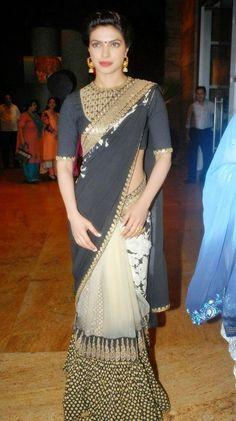 cdec5ecc35c92 Priyanka Chopra Black Saree At Dilip Kumar s Autobiography Launch