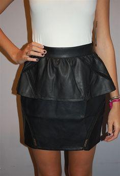 Peplum Skirt W/Cutout Detail - Black