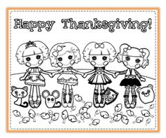 Get ready for Thanksgiving with this coloring page featuring some of the Lalaloopsy friends!