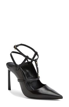 "Free shipping and returns on Lanvin Studded T-Strap Leather Pump (Women) at Nordstrom.com. <p><B STYLE=""COLOR:#990000"">Pre-order this style today! Add to Shopping Bag to view approximate ship date. You'll be charged only when your item ships.</b></p><br>Clean, bold lines balance a curvy topline on Lanvin's contemporary take on the T-strap sandal. Gleaming studs punctuate the center strap, while a pointy toe and architectural, setback heel provide sharp details. An elastic insert on the…"
