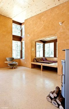 Photo Gallery-Favorite Images | StrawBale.com. Super cool nook in a straw bale home
