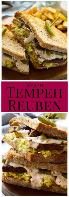 This #vegan tempeh reuben may just be the best sandwich ever invented. Start with tempeh simmered in spices till tender and flavourful, a big pile of (homemade, hopefully) sauerkraut, spicy Russian dressing and, of course, PICKLES (pickles and then more pickles). #tempeh #sandwich #plantbased #reuben