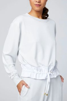 Arden Sweat | VARLEY.com – VARLEY.COM Suits You, Bra Sizes, Stretch Fabric, Fitness Fashion, Bell Sleeve Top, Sweatshirts, My Style, Knit Tops, Outfits