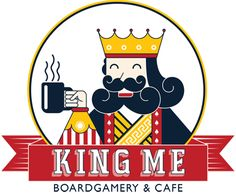 King Me Boardgamery & Café in Saskatoon, Canada Board Game Cafe, Board Games, Cafe Logo, Winning The Lottery, Free Games, A Table, Logo Design, Graphic Design, Playroom