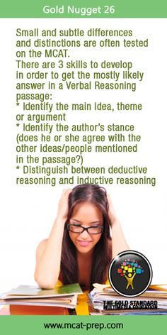 MCAT study tip for acing the Verbal Reasoning Section from The Gold Standard MCAT Prep. Improve your timing with these MCAT Verbal Reasoning practice tests http://www.mcat-prep.com/verbal-reasoning/