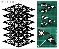 """Pirate"" printable toothpick flag templates for cupcakes. Pirate Kids, Pirate Day, Pirate Birthday, Pirate Theme, Pirate Flags, Birthday Party Decorations, Birthday Parties, Flag Template, Pirate Activities"