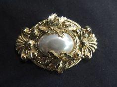 Vintage Brooch Pin Gold Tone Pearl Foil Oak Leaves Victorian Cameo Nouveau Cameo