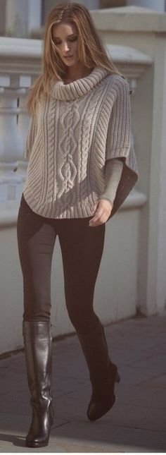 Beige knit cowl neck poncho with all brown outfit