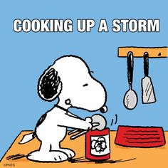 Snoopy is cooking! What's for dinner? Not baked beans again! Peanuts Cartoon, Peanuts Snoopy, Snoopy Cartoon, Food Cartoon, Peanuts Comics, Cartoon Pics, Snoopy Love, Snoopy And Woodstock, Baby Snoopy