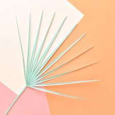 palm in mint with colour block background in peach, orange and coral. Yummy…