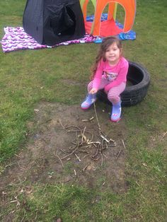 """We set up camp for a day including """"a fire"""" for marshmallows, tents, books for night time, torches, making breakfast on the fire etc etc"""