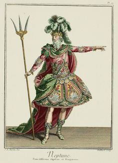 Galerie des Modes 18th Century Fashion Plate Neptune Ballet Costume French