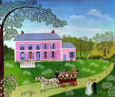 Paintings by French Naive Artist Cellia Saubry Cart and Pink House Henri Rousseau, Illustrations, Illustration Art, Cottage Art, Pink Houses, Naive Art, French Artists, Figure Painting, Contemporary Artists