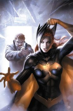 Batgirl she is a mean bitch, she'll drop a bomb on you in a heart beat. Awesome image by Alex Ross
