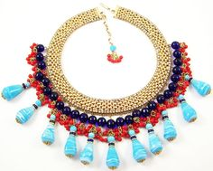 HATTIE CARNEGIE 'Egyptian Revival' Turquoise, Coral, Lapis Bead & Rhinestone Bib Necklace