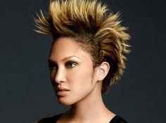 An edgy style with short, spiked hair