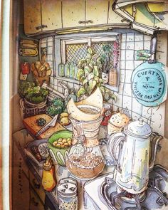 «友人が私のポストカード7枚を使って制作してくれた立体アートは、今でも宝物  This art was made by my friend.  #shadowbox #solid #handmade #happy #present #kitchen #kitchentools #cooking…»