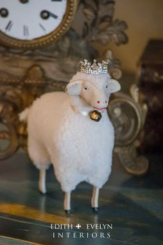 LG German Style Sheep with Stick Legs Miniature by edithandevelyn