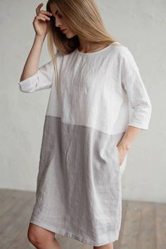 Two toned softened linen beach dress M size