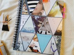 Triangle photo collage cover for a notebook-- great way to use your travel photos. From Pie N The Sky