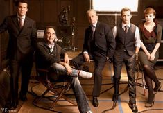 """Oliver Stone's """"Wall Street 2: Money Never Sleeps,"""" cast includes Josh Brolin, Oliver Stone, Michael Douglas, Shia LaBeouf, and Carey Mulligan. Photography by Annie Leibovitz for Vanity Fair January 2010."""