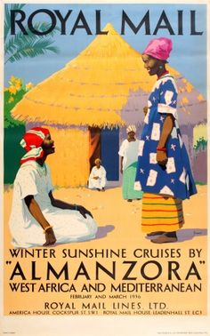 Royal Mail Cruises Almanzora West Africa, 1936 - original vintage poster by Percy Padden listed on AntikBar.co.uk