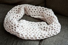 Crochet chunky infinite scarf. It even teaches you how to crochet!