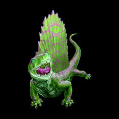 Green Dimetrodon. Perfect gift for dinosaur lovers. Or for Jurassic Park fans.   Design available in tshirts and other apparen for men, women and children. (just click the image)