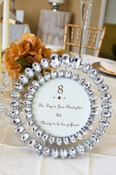 -RING holder frame - diy Wedding Ideas: Crystal Table Numbers