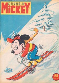 Mickey Mouse Ski Print, Vintage Magazine Cover - 1950's