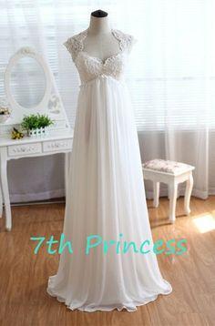 Lace Chiffon Sweetheart Backless Bridesmaid Dress by 7thprincess, $157.00