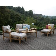 Sam's Club - Teak Outdoor 7-Pc. Patio Seating Set with Choice of Cushion Color