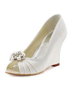 Gorgeous Satin Upper Peep Toe Wedge Heels Wedding Shoes Peep Toe Wedges, Wedge Heels, Stiletto Heels, Wedding Shoes Heels, Bridal Shoes, Wedding Store, Custom Shoes, Peeps, Fashion Shoes