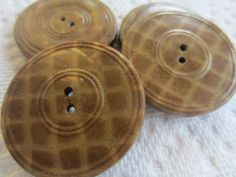 Vintage Buttons 4 Collector celluloid, novelty design matching extra large, in brown and cream with plaid pattern, metal backs (july 505) by pillowtalkswf on Etsy